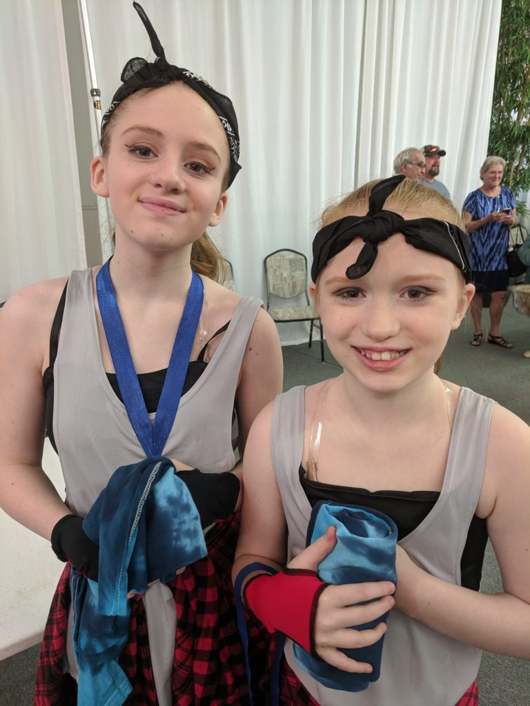 two girls post dance recital